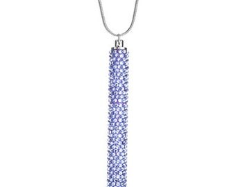 Petite Crystallized Necklace Pen Fully Embellished With Tanzanite Swarovski Crystals