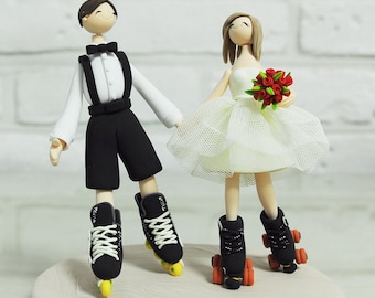 Custom Wedding Cake Topper - Playing roller blades and skates couple -