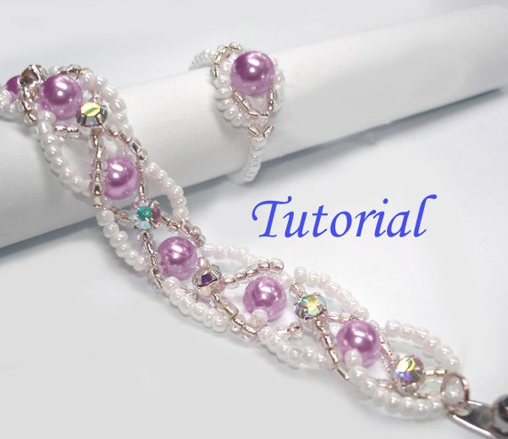 Beading Tutorial - Beaded Infinity Entwined Bracelet and Ring Set Patterns