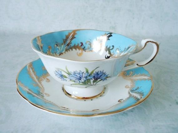 Paragon Tea Cup and Saucer Set - Vintage Tea Cups and Saucers - Turquoise Teacup and Saucer - Cups and Saucers