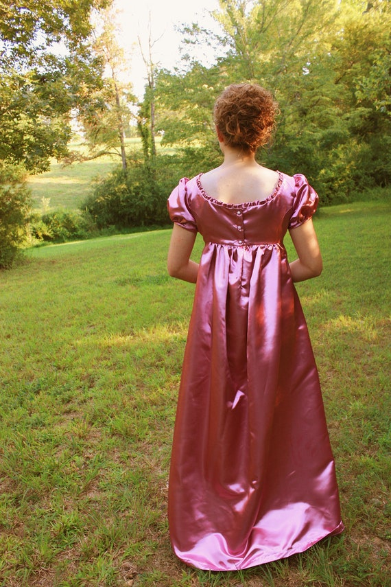 Rose Satin Regency Dress, Reenactment Costume, and Formal Ball Gown, 11 Junior, 12 Misses