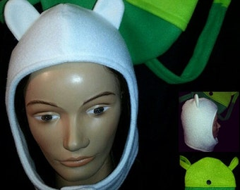 Adventure Time Inspired Finn the Human Hat and Backpack Combo Costume Cosplay