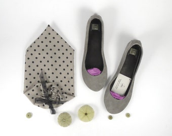 Cool Gray Soft Leather Handmade Ballet Flats