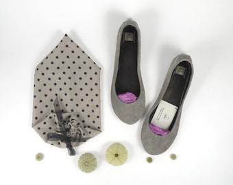 Cool Gray Soft Leather Handmade Ballet Flats