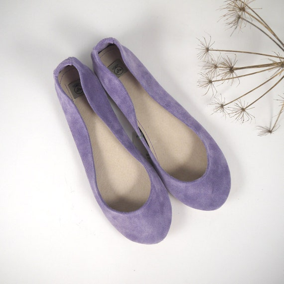 Glicine Light Violet Suede Leather Handmade Ballet Flats and Purse - Reserved for Katie