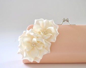Peach - Ivory - Bridal Clutch / Bridesmaid Clutch - Custom color