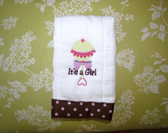 It's a Girl Embroidered Burp Cloth on Clearance
