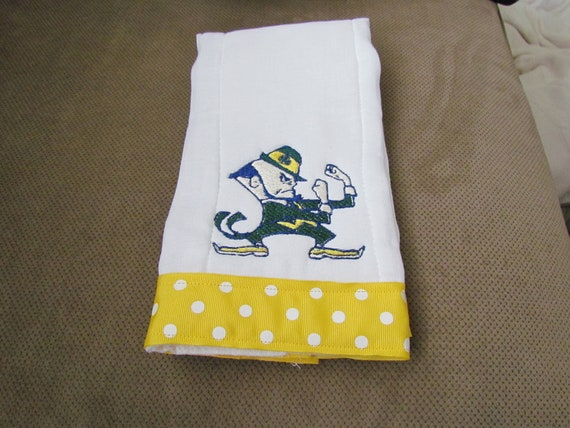 Personalized Notre Dame Fighting Irish Embroidered Burpcloth