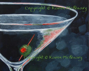 acrylic painting -Midnight Martini- ORIGINAL-  restaurant, bar, art OOAK 12x12