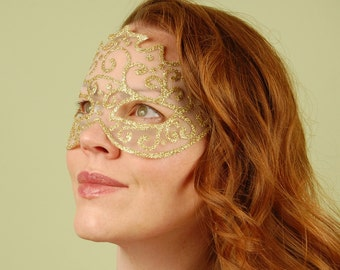 SHEER MASK- Gold Dust- masquerade mask, Mardi Gras, ballroom, fairy, Venetian, Halloween, tattoo