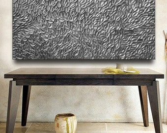 Custom Abstract Texture Painting 60 x 30 Original Modern Silver Pewter Carved Metallic Knife Oil by Je Hlobik