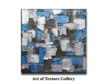 Abstract Painting 40 x 40 Original Abstract Texture Sculpture Blue Silver Brown White Modern Metallics Oil by Je Hlobik Ready to Ship