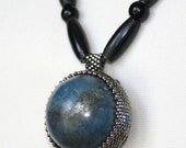 MENs Blue Lapis Lazuli Sphere with Pyrite inclusions, Black Leather, Black Horn beads and Pyrite Flat Ovals