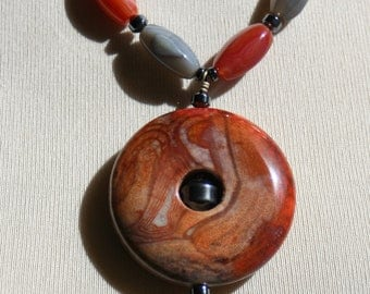 Men's Agate Gemstone Necklace with Fancy Jasper and Hematite