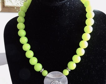 Lime Green Jade and Sterling Silver Necklace
