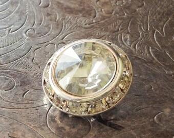 Vintage Rhinestone Button Clear Crystal 16mm