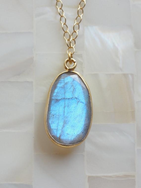 Step-Cut Faceted Vivid Blue Flash Labradorite Vermeil Bezel Pendant on Gold Chain Necklace