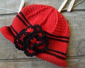 Crochet Floral Hat Red and Black City Crochet Hat with Flower Detail