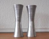 Mid Century Modern Candlesticks, Silver Metal, Galvanized Aluminum Pair
