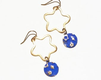Brass Star Earrings Hand Painted and Embossed Celestial