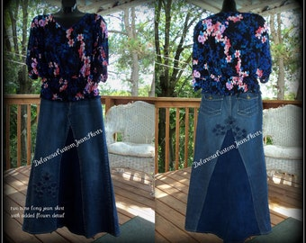 Custom Order Delarosa Two Tone Long jean skirt with added flower detail to your size made on order