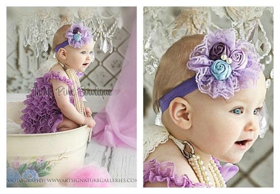 Lavender petti lace romper and headband SET, petti romper,baby headband, flower headband,vintage inspired headband and lace petti romper