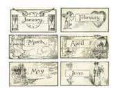 Antique Calendar Typography Images - Digital Download for Papercrafts, Transfers, Pillows, Scrapbooks, and more.