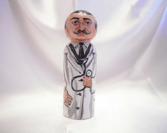 Saint Joseph Moscati - Catholic Saint Wooden Peg Doll Toy - made to order