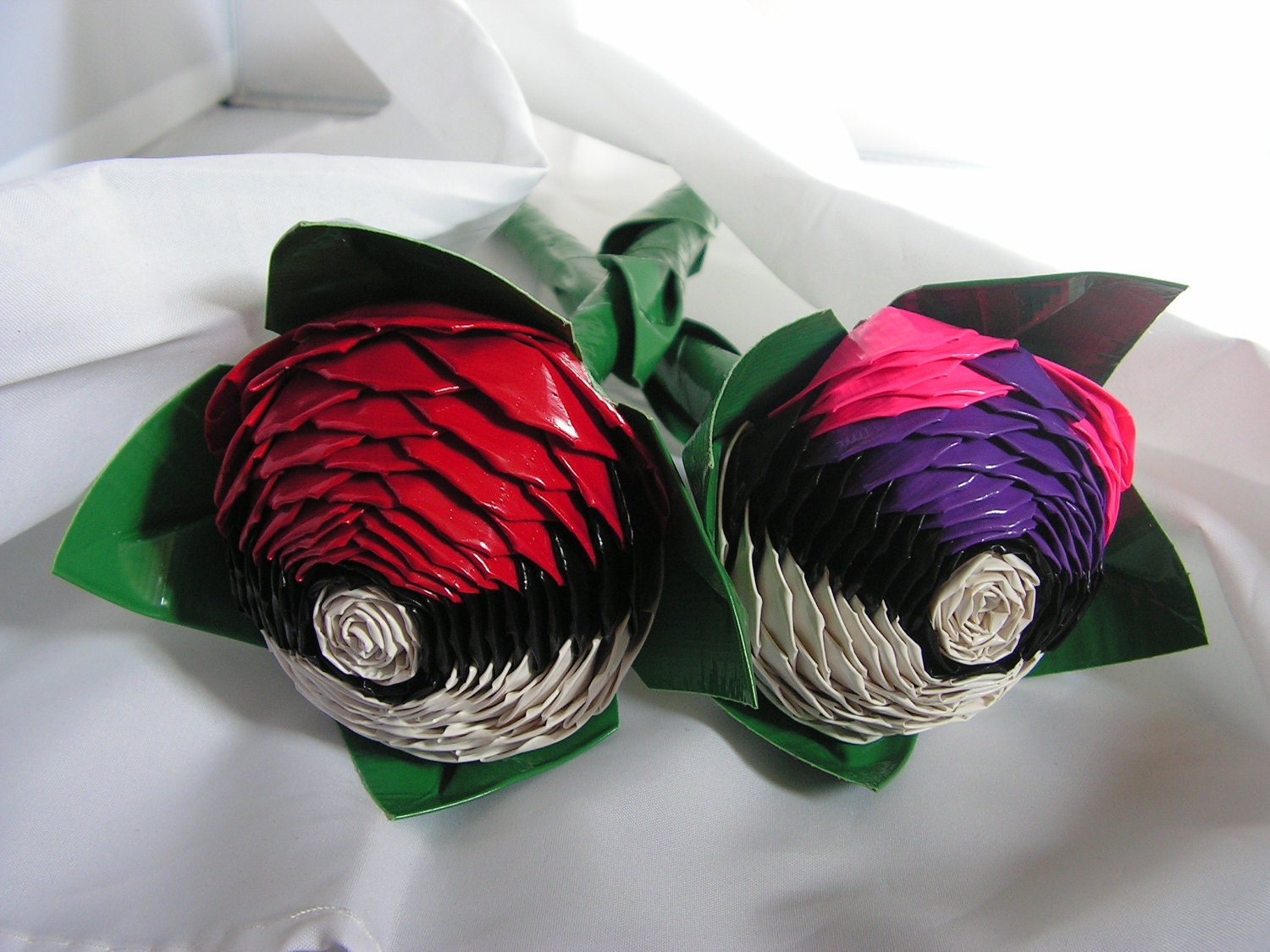 Duct tape pokeball and masterball rose set by quirkyqrafts on etsy