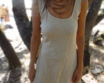 Earthy Sleeveless Dress ~ Raw Silk