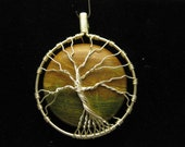 Sunset Tree of Life wire wrapped pendant with Red Creek Jasper