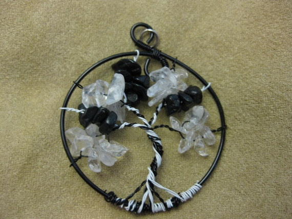 Tree of Life black and white pendant with crystal chips