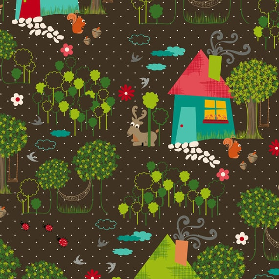 1 Yard Fabric - Anthology Fabrics - The Woodlands collection by Khristian A Howell - Woodlands in Chocolate (PR-325)