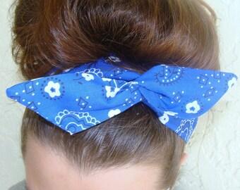 Dolly Bow, Blue Bandanna, Wire Headband