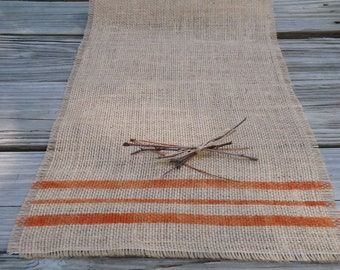 Burlap Table Runner 12x48 with Rustic Orange Stripes/Choice of Colors/Cottage Table Decor by sweetjanesp