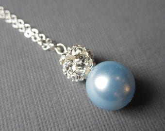 Light Blue Pearl Necklace, Pale Blue Bridesmaid Jewelry, Rhinestone Pendant Necklace, Baby Blue Pearl Necklace