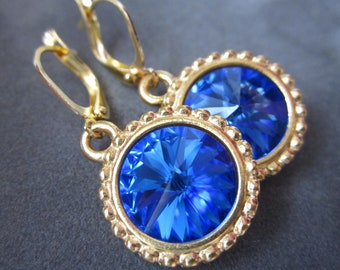 September Birthstone Earrings, Crystal Birthstone Jewelry, Sapphire Earrings, Gold Blue Drop Earrings