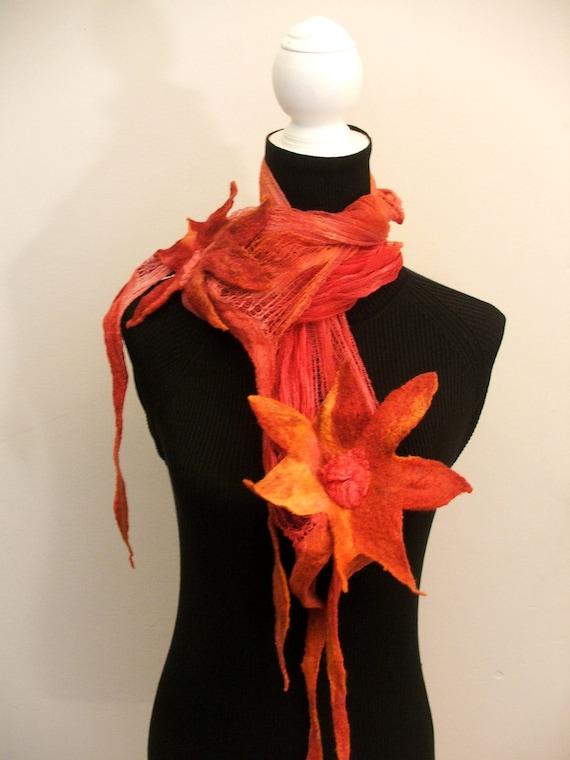 Nuno Felted Shawl, wrap OOAK Wearable Art,  Summer Shawl, Scarf, 3D Flowers