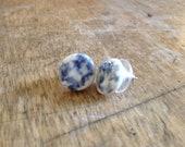 Blue Sponge Pottery Stud Earrings in stock ready to ship