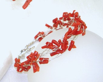 Natural Red Coral Bracelet Wire Wrapped Woven Bride Bridesmaids Winter Wedding Love July Birthstone Bridal Accessories
