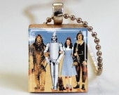 Wizard of Oz Jewelry Dorothy and Friends Scrabble Tile Pendant with Ball Chain Necklace Included (ITEM S791)