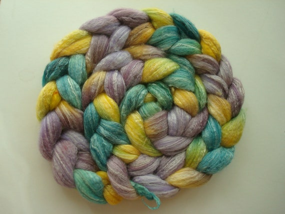 Hand Painted Merino/Bamboo/Tussah Silk 75/25/25 Roving. 4 Ounces for spinning or felting