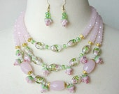 Pink Statement Necklace, Rose Floral Necklace, Elegant Multi Strand Necklace And Earring Set, Cocktail Necklace