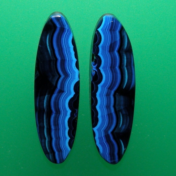 Bisbee Banded Azurite 100% Natural Hand Cut Matching Cabochon Pair from Arizona, free shipping