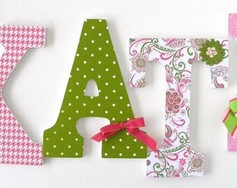 Baby Nursery Wall Letters - Paisley Pink & Green - Custom Wooden Letter Set