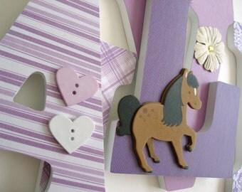 Wooden Letters for Girl Nursery - Horse Theme - Animal Nursery - Custom Letter Set