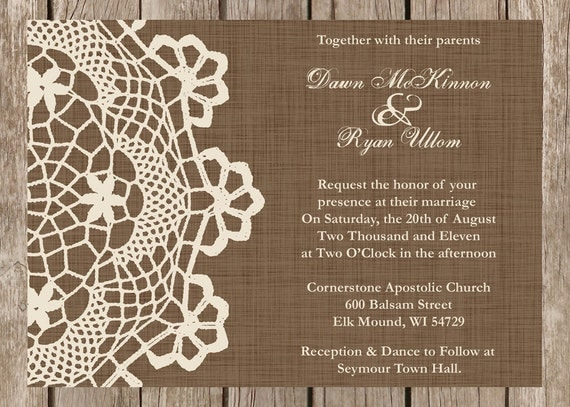 Western Wedding Invitation Wording: Items Similar To Custom Rustic Doily Wedding Invitation