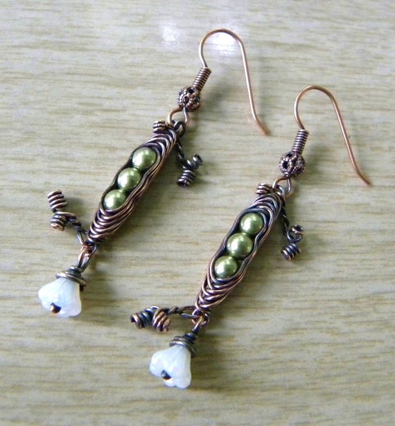 Pea Pod Earrings, Wire Wrapped, Green Swarovski Pearls, White Flower, Oxidized Copper, 3 Peas in the Pod