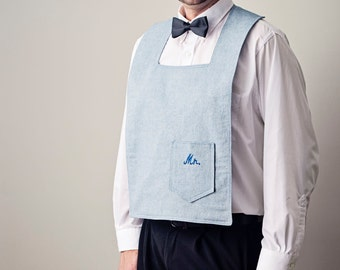 Denim Groom bib for Him - Boot-scooting cute