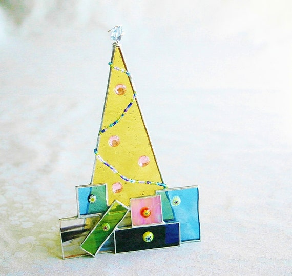 Stained Glass Yellow Christmas Tree w Presents Ornament Blue Swarovski Crystal Star Glass Bead Garland Peach Cabochon Ornaments Hand-crafted